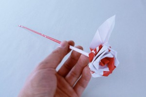 long stemmed paper rose